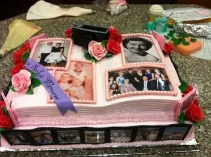 Impress your party guests with a cake that features photos of the guest of honor!