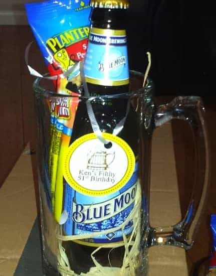 Beer mugs filled with goodies are great birthday party favors for adults!