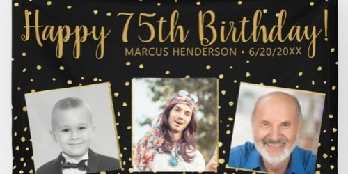 Love this festive black and gold birthday banner with 3 pictures!