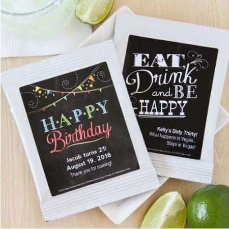 Birthday Party Favors for Adults - Your guests will toast to your good taste with these delightful personalized cocktail mix party favors!