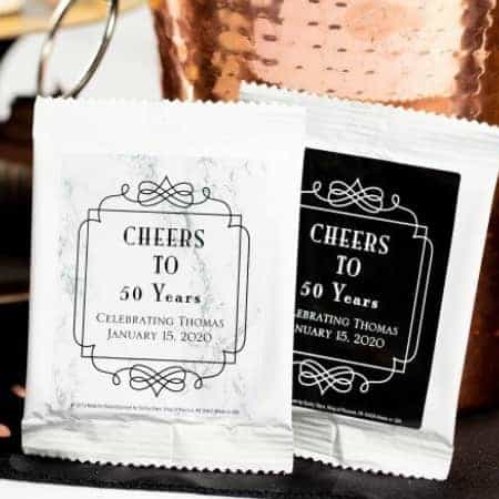Adult Birthday Party Favor Ideas - Adorable personalized coffee bag birthday party favors are the perfect way to end a marvelous birthday celebration!