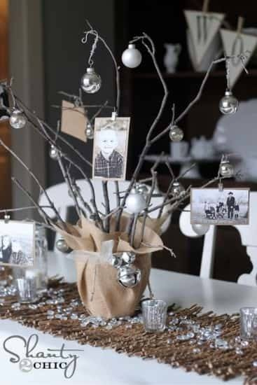 Adorable photo tree table centerpiece is a great way to show off your favorite pictures.  Perfect for a wedding, anniversary or birthday party.