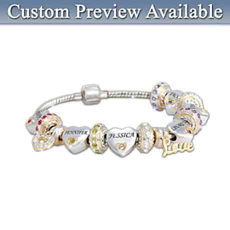 Delight your mother with this lovely engraved charm bracelet that features her children's names and birthstones.
