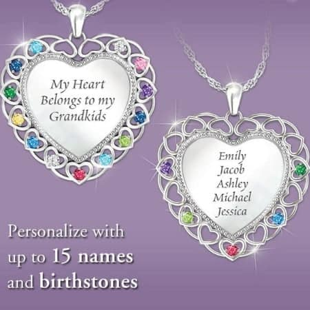 Thrill Grandma with this beautiful personalized necklace that features her grandkids' names and birthstones.  A meaningful necklace that she'll treasure forever!