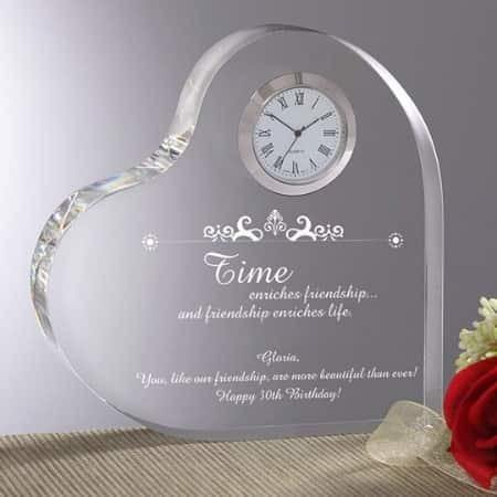 Meaningful Gifts for 75 Year Old Woman - Let her know how much you treasure her with this gorgeous personalized heart-shaped clock.