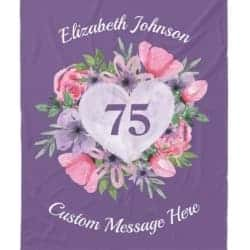Personalized 75th Birthday Blanket for Women