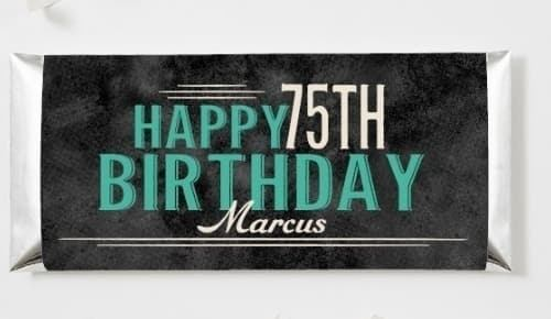 Personalized Candy Bar Wrappers - Looking for a fun and inexpensive 75th birthday party favor? Send your guests home with this sweet personalized candy bar! Cute candy bar wrapper is available in pink or teal.