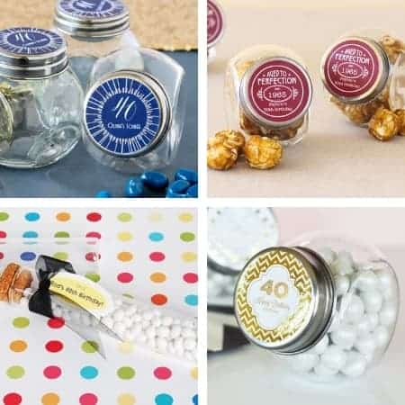 Adorable mini candy jar favors are a sweet ending to a memorable celebration! Personalize the label and then fill the little jars with cute treats.