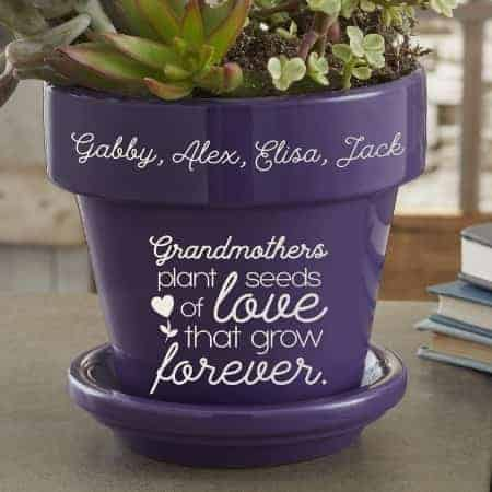 How cute is this personalized flower pot for Grandma?  She'll love the inscription - and her grandkids' names are featured at the top of the pot!