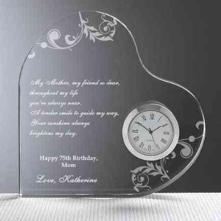 Lovely heart shaped clock is the perfect way to let mom know how much you love her.