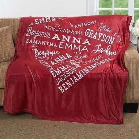 Looking for a special present for an older woman?  Delight her with this snuggly heart of love blanket that features up to 21 names!
