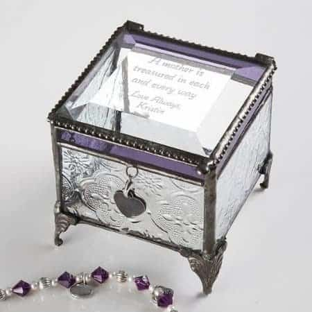 Glamorous vintage style jewelry box is a delightful gift for any special woman.  Engrave your own loving message on the top.