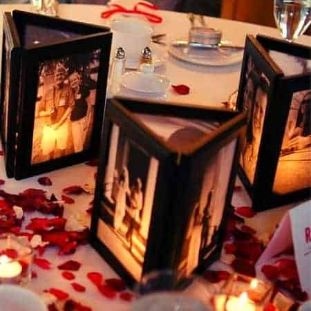 How cute are these photo frame centerpieces?