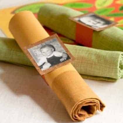 Photo napkin rings are easy to make and add a special touch to any party!