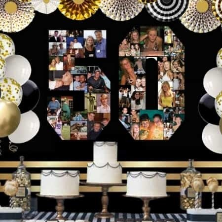 Easy to make photo number collage is the perfect party decoration for a milestone birthday or anniversary!