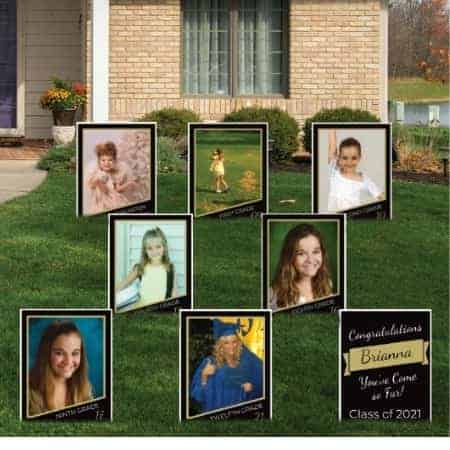Birthday Party Photo Decorating Ideas - Greet your guests with an awesome yard sign display!  This set of 8 photo yard signs can be easily personalized for a birthday, graduation or anniversary party.