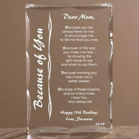 Looking for a sentimental birthday gift for your mother?  She'll love this striking keepsake that features your own loving message engraved upon it.