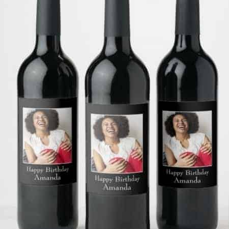 Looking for fabulous birthday party decorations?  Serve up your favorite beverage in style with personalized peel and stick wine bottle labels!
